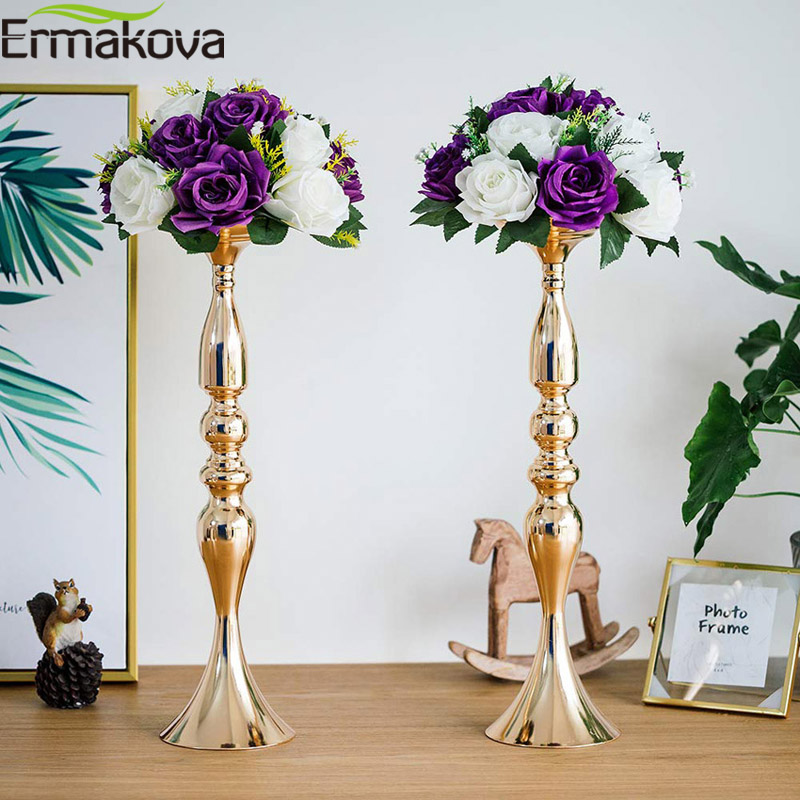 ERMAKOVA Gold Metal Candle Holders Stand Flowers Vase Candlestick Centerpieces As Road Lead Candelabra Centre Pieces Wedding