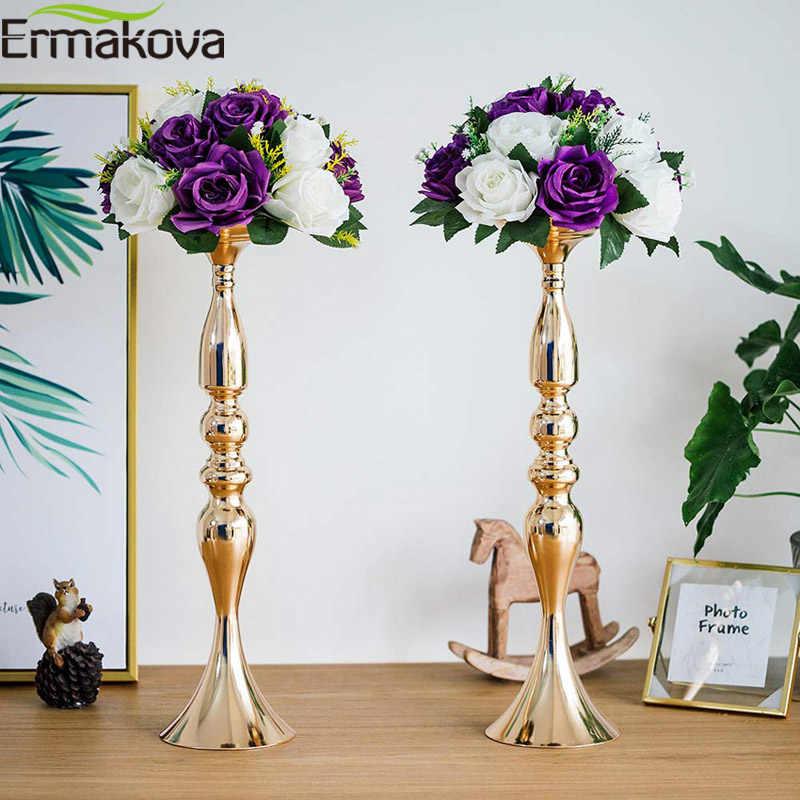 ERMAKOVA זהב מתכת פמוטים לעמוד פרחי אגרטל פמוט סידורי כמו כביש עופרת מנורת מרכז חתיכות חתונה