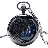 New Trendy Cool Black Peacock Hollow Case Blue Roman Number Skeleton Dial Steampunk Mechanical Pocket Watch