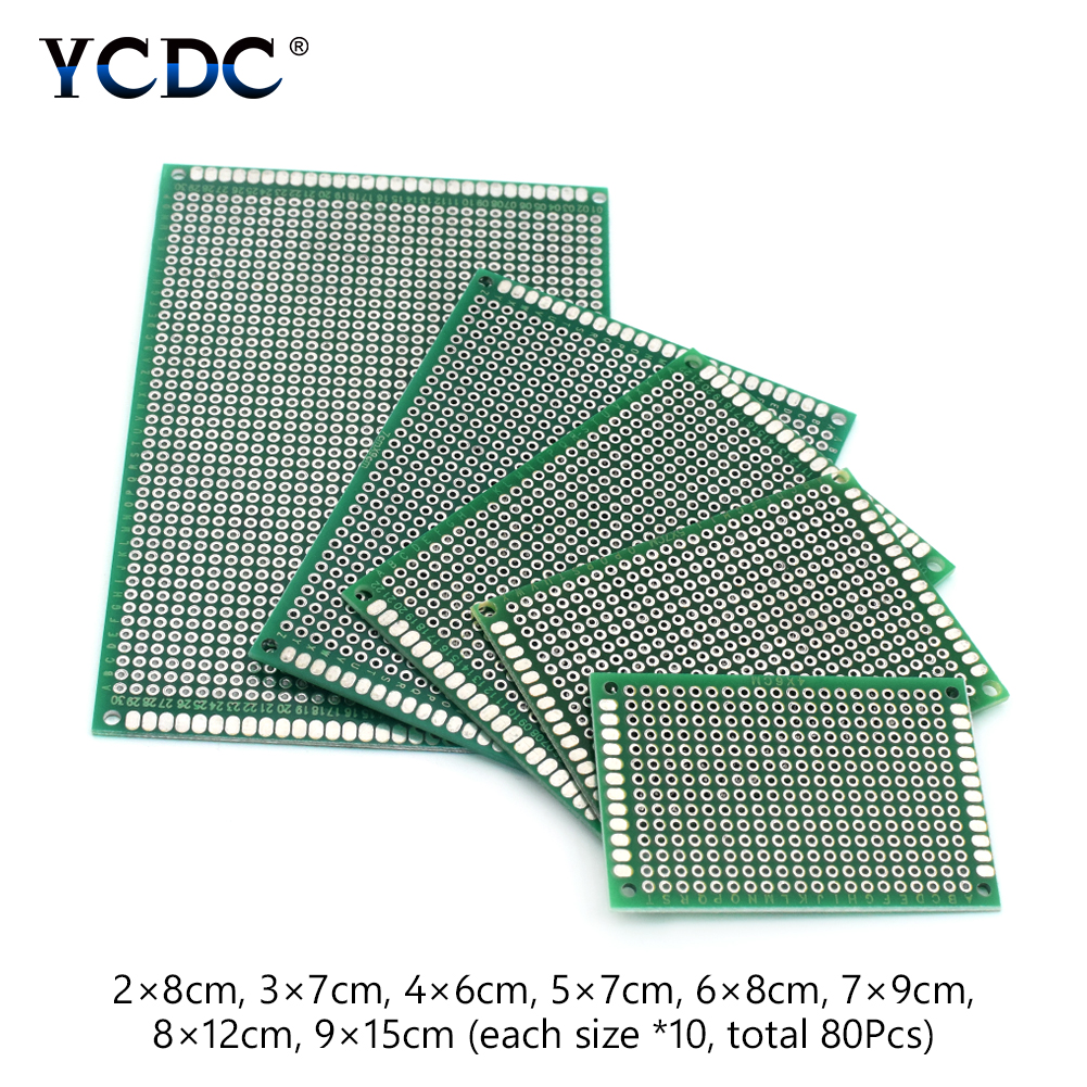 цена на 8 Sizes Mixture PCB Circuit Board Prototype Breadboard For Arduino DIY 80Pcs very solid makes it very easy to solder components