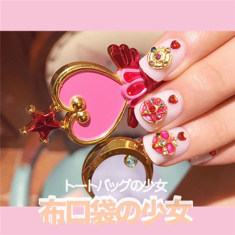 Us 636 9 Offsailor Moon Series Japanese Cute 3d Fake Nails Cream Pure Color False Nails With Rivet Decoration Lady Full Nail Tips Bride In False