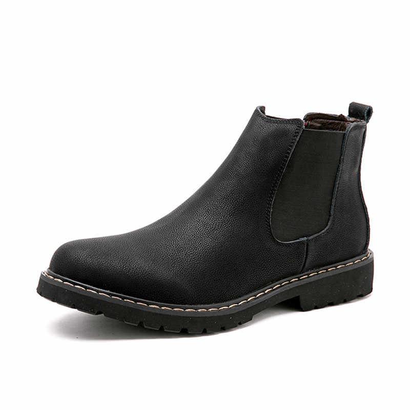 Plus Größe 38-45 Chelsea Stiefel Männer Winter Schuhe Schwarz Split Leder Stiefel Herren Warme Plüsch Fell Winter Stiefel für Männer