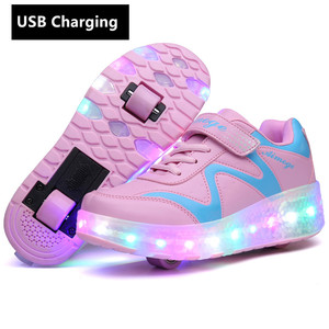 Image 4 - หนึ่ง/สองล้อUSBชาร์จรองเท้าผ้าใบLED Light Rollerรองเท้าสเก็ตสำหรับเด็กLEDรองเท้าเด็กผู้หญิงรองเท้ารองเท้าlight Up Unisex