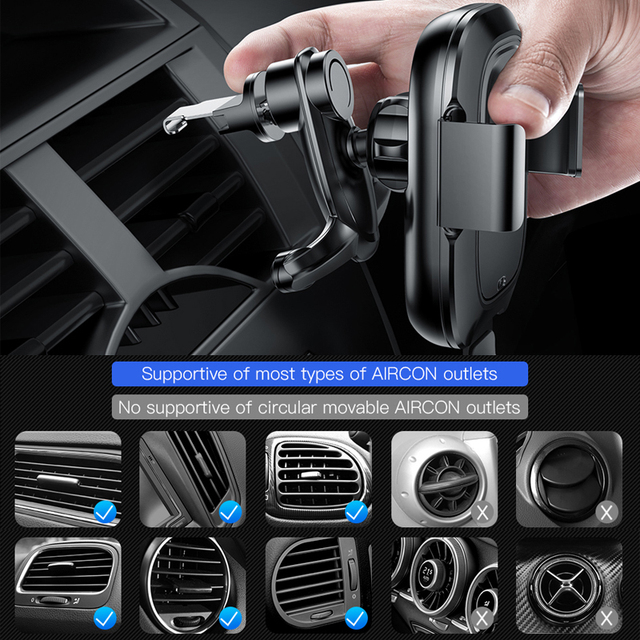 Baseus Car Phone Holder for iPhone Samsung Intelligent Infrared Qi Car Wireless Charger Air Vent Mount Mobile Phone Holder Stand 6