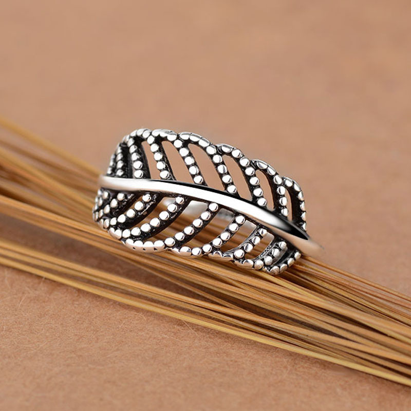 Bohemian Vintage Silver Color Leaf Rings for Women Fashion Statement Jewelry Adjustable Finger Ring Girls Gifts 3