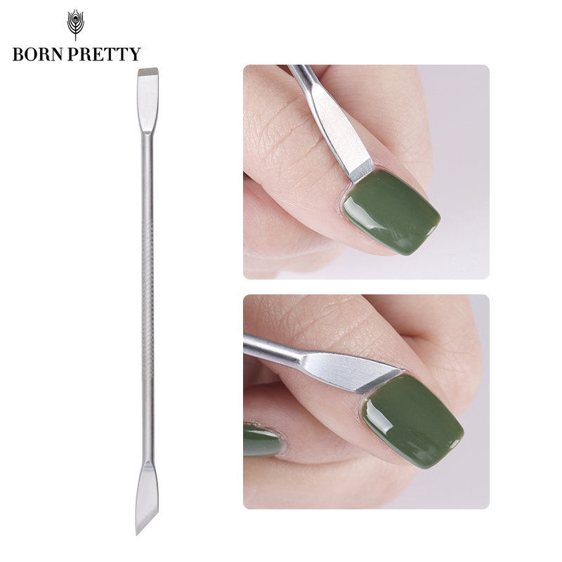 Dual-ended Stainless Steel UV Gel Cuticle Nail Remover Pusher Anti-slip Handle Nail Art Tool 1pc dual ended uv gel polish remover cuticle nail pusher remover stainless steel manicure nail art tool dead skin remover kits