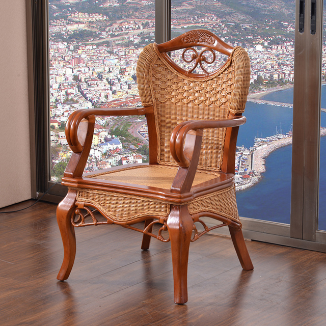 Indonesian Rattan Wicker Chair Balcony Armchair Lounge Single Vintage  Chairs Office