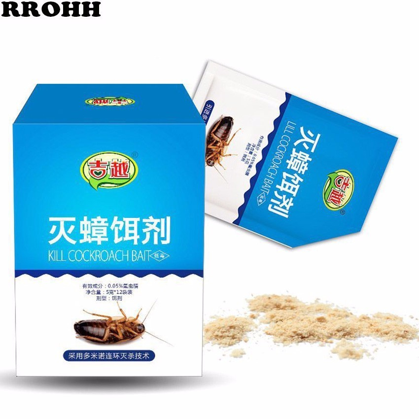 12PCS Very Powerful Effective Cockroach Killing Bait Pest Control Cockroach Killer repellent Powder For Kitchen Restaurant-in Baits & Lures from Home & Garden