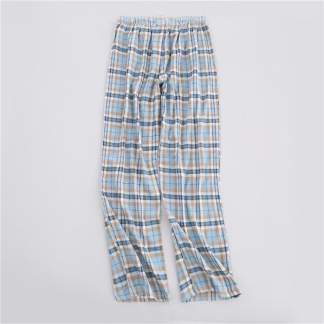 Spring 100% cotton plaid sleep bottoms men comfort Casual male sleepwear trousers pijamas mens sheer pajamas pants