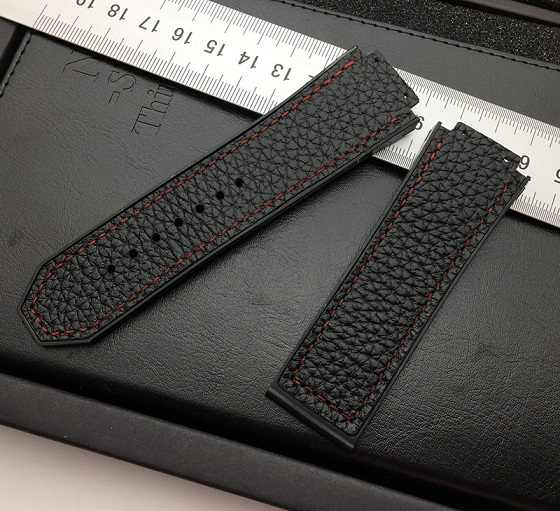 Black 29*19mm soft cow real leather with rubber watchband watch band for Hublot strap for king power series logo on free tool