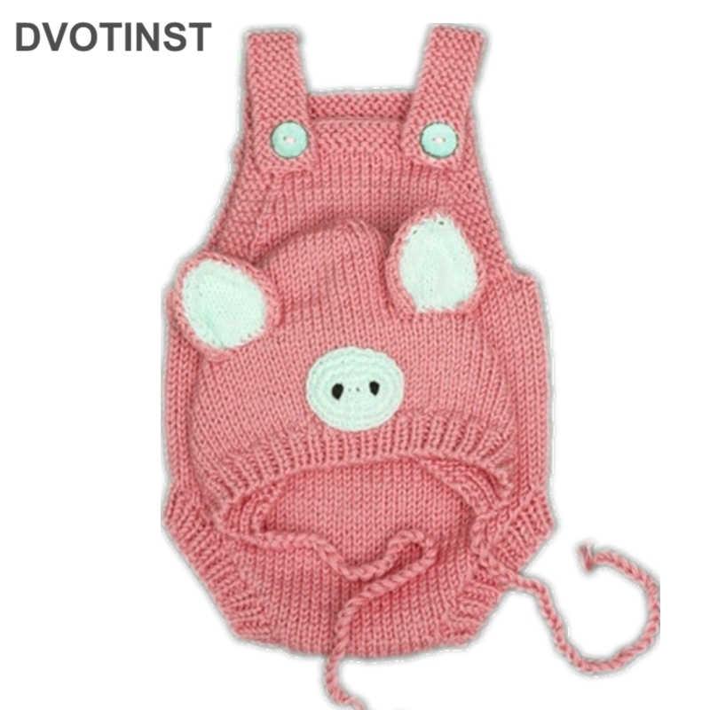 Dvotinst Bayi Baru Lahir Fotografi Alat Peraga Topi + Babi Boneka Crochet Merajut Fotografi Aksesoris Studio Menembak Foto Shower Hadiah