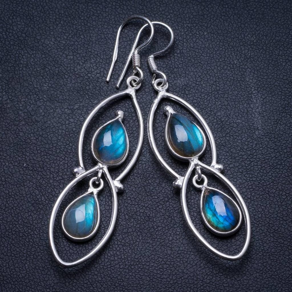 Natural Blue Fire Labradorite Handmade Unique 925 Sterling Silver Earrings 2.25 X3168 natural blue fire labradorite handmade boho 925 sterling silver earrings 1 25 u0962