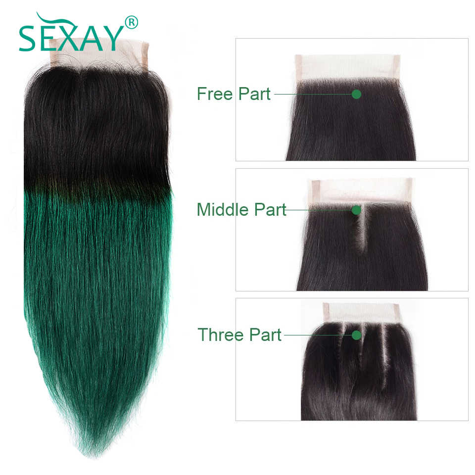 Sexay 4*4 Lace Closure Brazilian Straight Hair Two Tone Ombre Color Hair 1B/Green Human Hair Lace Closure With Baby Hair 1 Piece