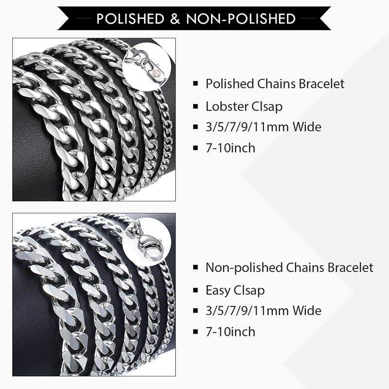 Men's Chained Polished Stainless Steel Bracelet