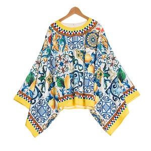 Image 4 - AELESEEN Fashion Runway 2 Piece Set 2018 porcelain Print Twinset Bow Batwing Sleeve Blusa Top + Calf Length Pencil Pants Suit