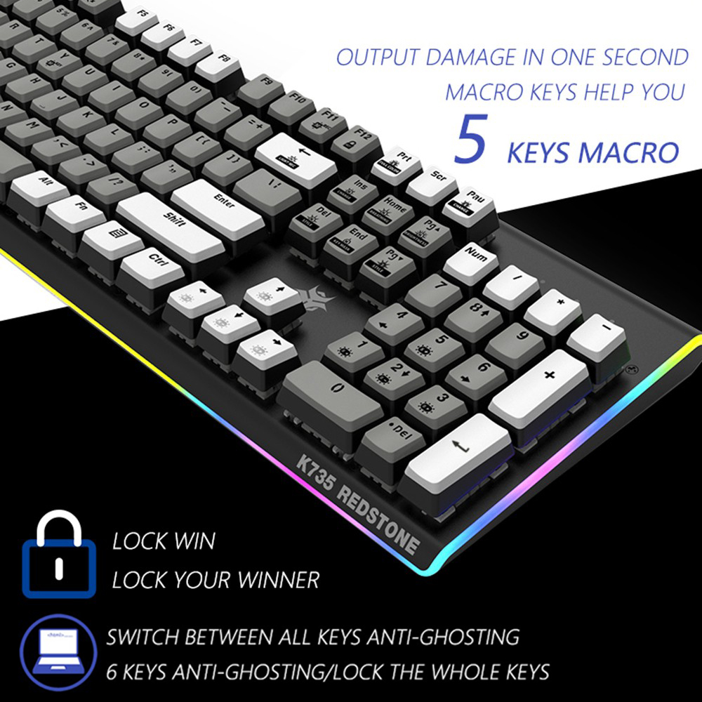 HEXGEARS GK735 Kailh BOX Switch Mechanical Keyboard 104 Key Hot Swap Waterproof Gaming Keyboard ABS Key Cap RGB Side Keyboard