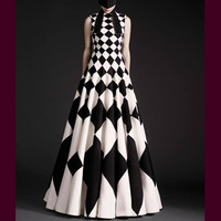 Summer Fashion Women's 2018 Sleeve Designing Plaid Print axi Long Full Dress High Quality Runway Ball Gown Plus Size 4XL Dresses