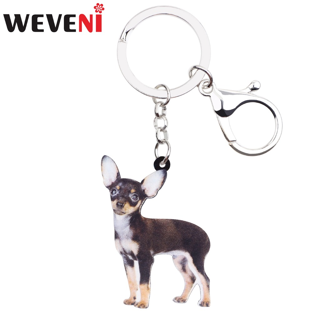 WEVENI Acrylic 2018 Standing Chihuahua Dog Key Chains Pendant Animal Jewelry For Women Girls Handbag Charm Lady Wholesale 2018