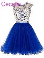 Royal Blue Short Juniors Cocktail Dresses 2019 Beaded Top Tulle Skirt Open Back Teens Informal Short Prom Dress Custom Made