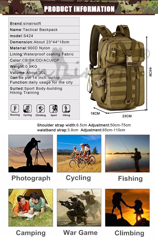 SINAIRSOFT Outdoor Tactical Backpack 900D Waterproof