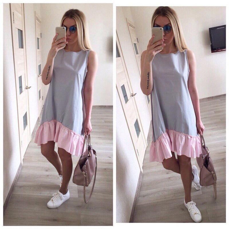 Summer Dresses 2018 Casual Loose Patchwork Sleeveless Ruffles O-Neck Straight Dress Fashion Women Dress Ukraine Vestidos