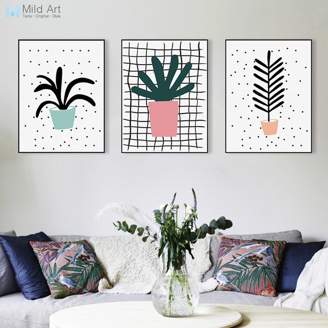 Triptych Modern Abstract Green Plant Cactus Poster Nordic Living Room Wall Art Print Picture Home Decor Canvas Painting Custom