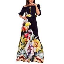 Fashion Spring Summer Floor Length Women Dress Off-Shoulder Half Sleeve Floral Print Vestido Sexy Women Party Dresses