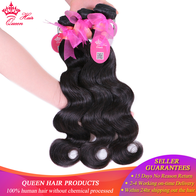 Queen Hair Products Brasilian Human Hair 3pcs / lot Bundles Deal Body - Menneskelig hår (for svart)