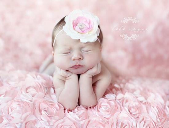 Cute baby girl photos in brown romper rosette backdrop newborn photography props blanket pink faux fur