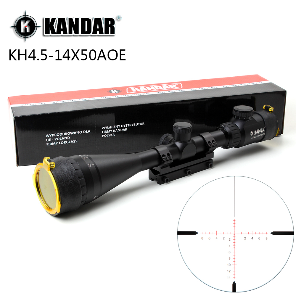 KANDAR 4.5-14x50 AOE Hunting Riflescope Red Special Cross Reticle Sniper Optic Scope Sight FOR Rifle One Piece 11mm or 20mm Ring kandar 4 16x40 aoe mil dot reticle riflescope locking resetting full size hunting rifle scope tactical optical sight