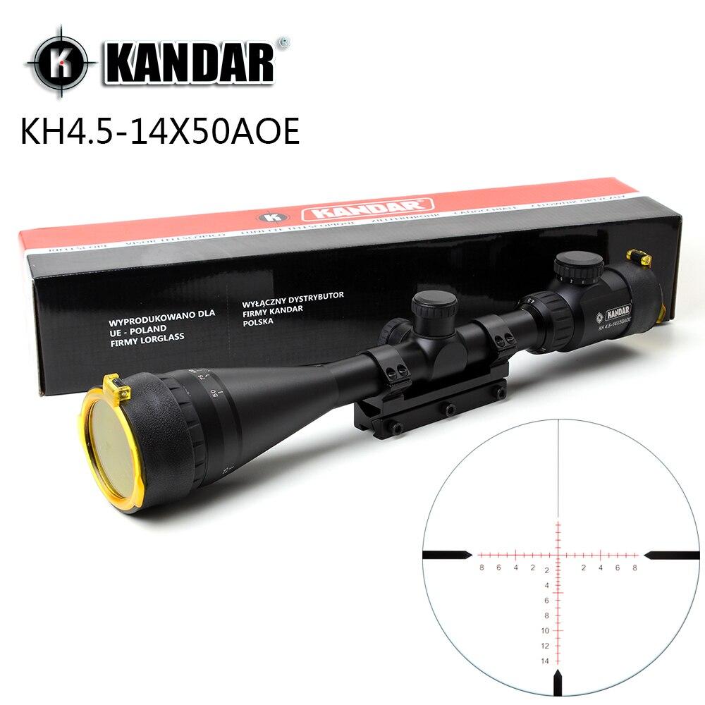 KANDAR 4.5-14x50 AOE lunette de chasse rouge spécial réticule réticule Sniper optique portée de vue pour fusil une pièce 11mm ou 20mm anneau