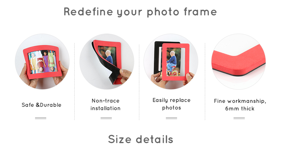 930_04 Colorful Magnetic Picture Frames Photo Fridge Magnets Photo frame Refrigerator Magnetic Photo Frames Wall Decor with EVA Surface