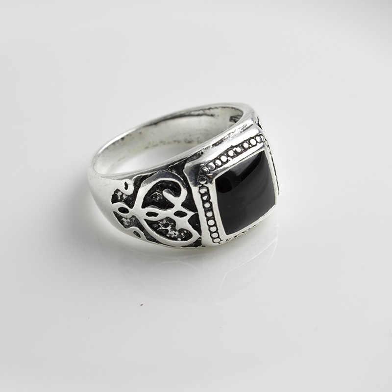 ขนาด: 8-11 คุณภาพสูงโบราณเงินชุบแหวนคริสต์มาสใหม่แหวนสีดำเคลือบสแควร์แหวนเครื่องประดับ