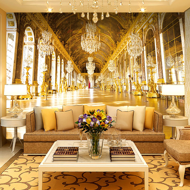 Custom 3D Photo Wallpaper Painting Luxury Royal Palace Hotel Hall Living Room Sofa TV Background Non-woven Wall Mural Wallpaper リビング シャンデリア