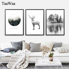 TAAWAA Black and White Canvas Poster Nordic Style Deer Abstract Forest Wall Art Painting Decorative Picture for Living Room