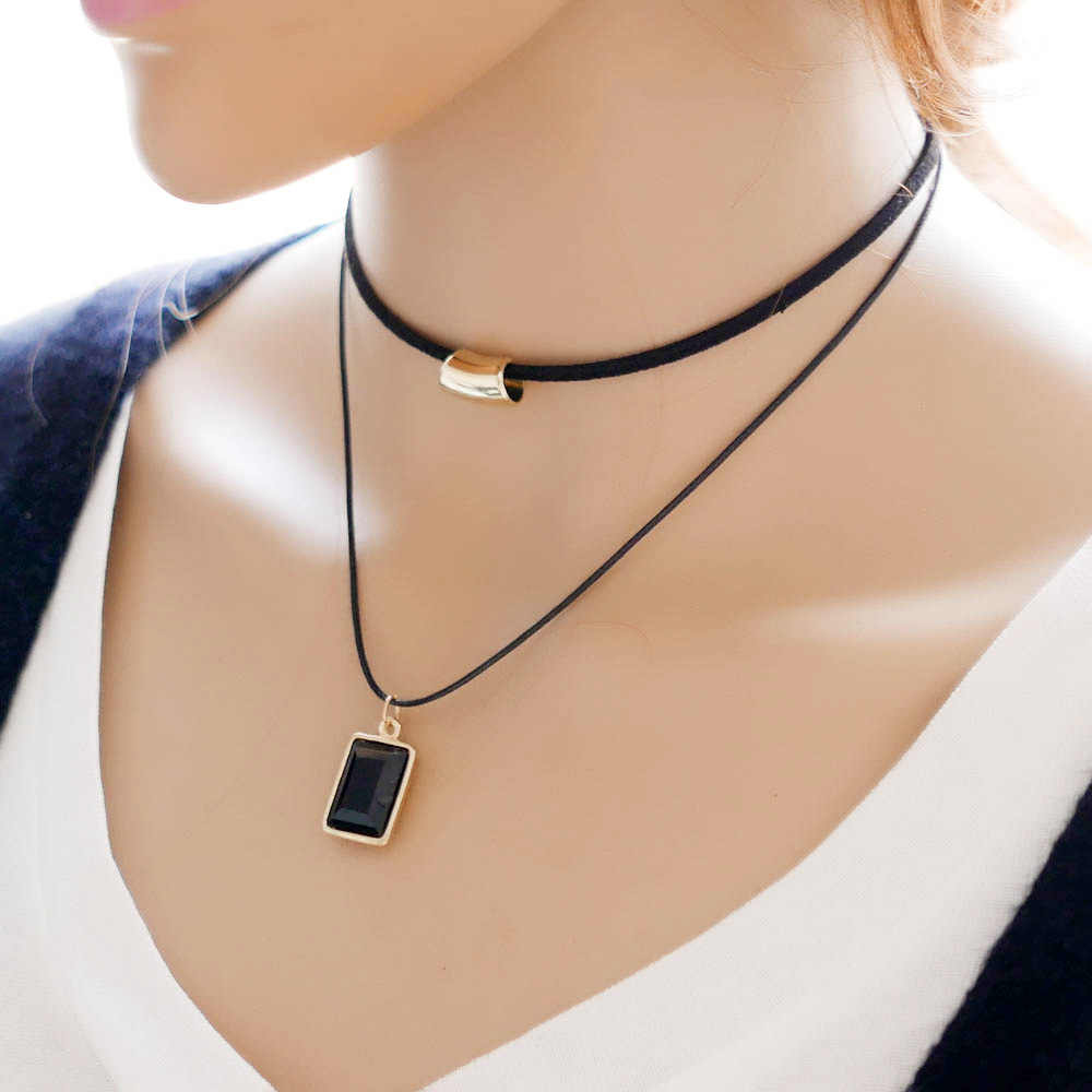 2017 Европейское модное простое ожерелье в форме коробки двойное корейское дамское эксклюзивное ожерелье
