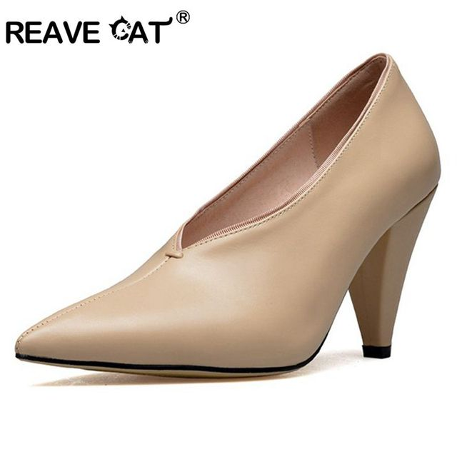 ae7b57c98cad REAVE CAT New Fashion Luxury Brand Shoes women Pumps Genuine Leather Office shoes  Sexy Ladies high heels Pump Women Zapatos A064