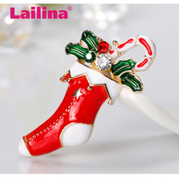 Enamel Christmas Stocking Brooches For Women Gold Color Brooch Pins Scarf Dress Lapel Pin Christmas Decorations Jewelry