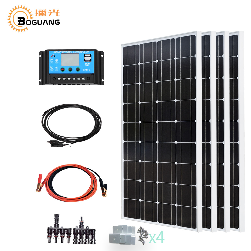 Boguang 4*100w solar panel 400w solar system kit 40A controller cable yacht RV Monocrystalline silicon cell photovoltaic module boguang portable solar panel kit 100w diy rv boat solar plate system flexible solar panel controller cable outdoor light led