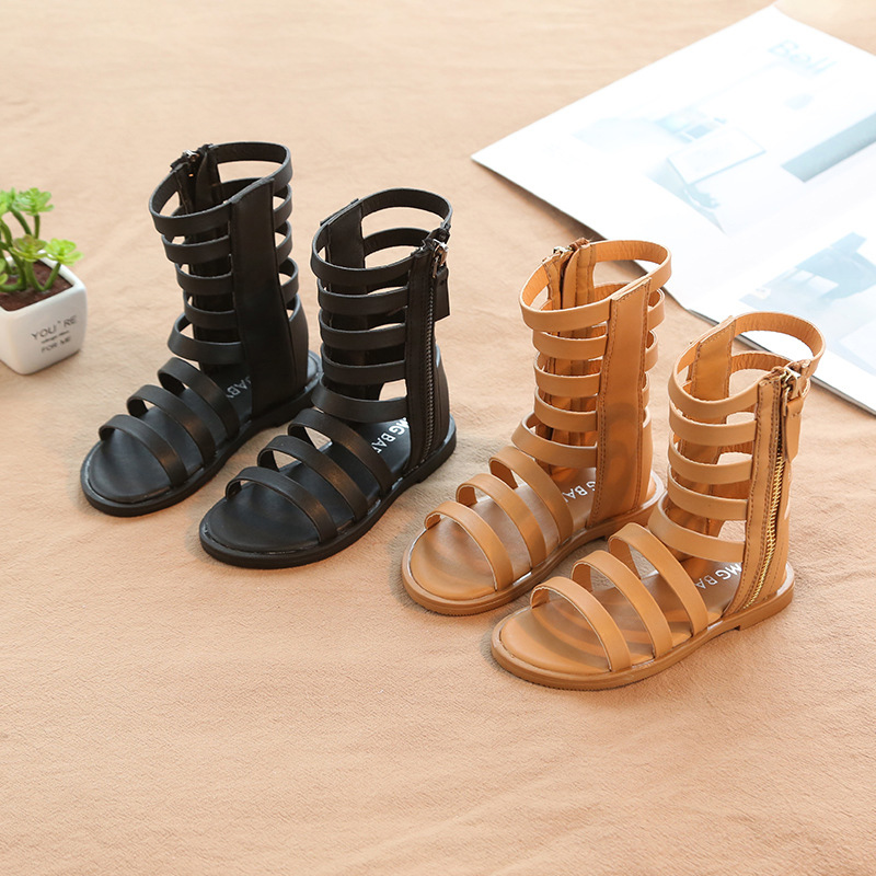 1 2 3 4 5 6 7 8 Years Little Girls Summer Rome Long Sandals Boots For Kids Girls Brown Black Dress Shoes Sandals New 2019