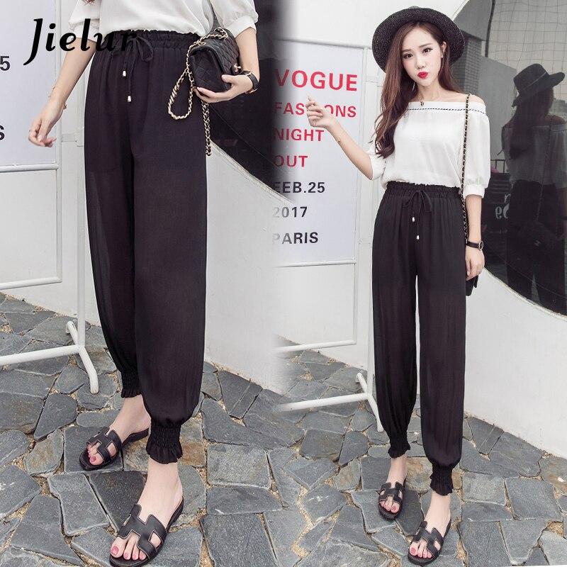 Jielur Chiffon   Pants   Korean Style Pure Color Trousers for Women Vintage Harem   Pants   Elastic Waist Pantalon Femme Long   Capris   XXL