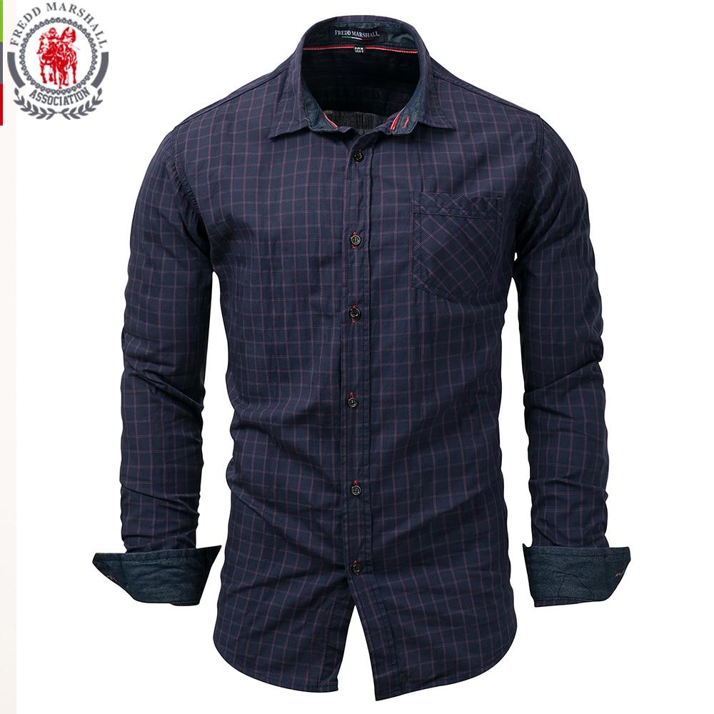 db6dffe781 Fredd Marshall 2017 Men Long Sleeve Printed Shirt Male Plaid Business Social  Dress Shirt 100%