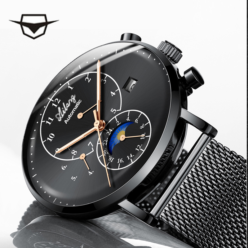 2018 NEW AILANG Mens Watches Top Brand Business Fashion Automatic Mechanical Watch Men Sport Waterproof Watch