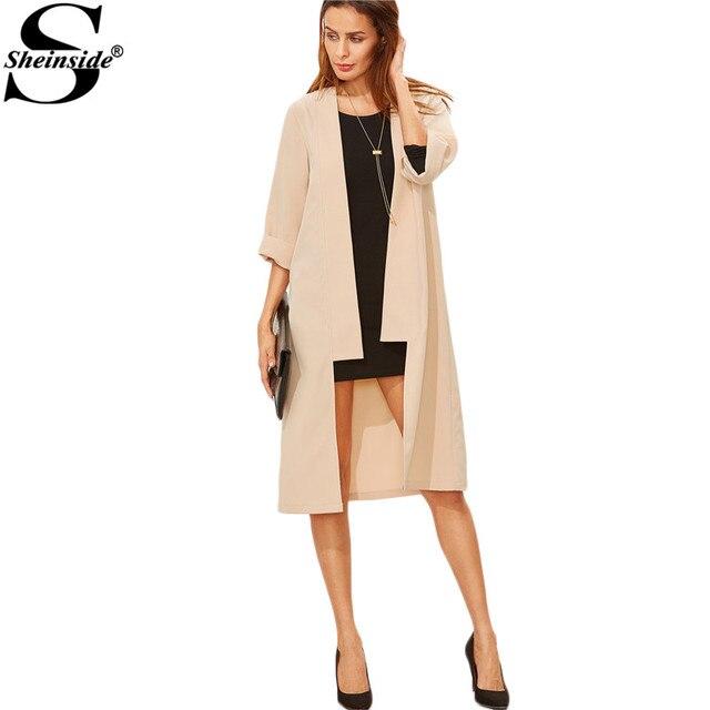 Sheinside Зимнее Пальто Женщин Европейский Плащ Женщины Основные Пальто Мода Уличная Абрикос С Длинным Пальто Duster