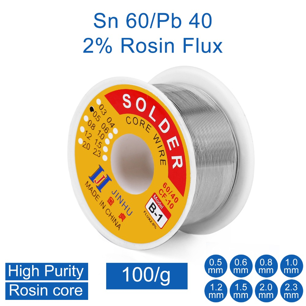 100g  Solder Wire 60/40 Tin Lead 0.3mm 0.4mm 0.5mm 0.6mm 0.8mm 1.0mm Rosin Core For Electrical Repair, IC Repair