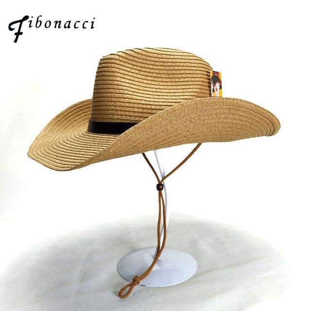 cf8ed1a7d28cd0 Fibonacci Fashion Summer Sun Hat Cowboy Panama folding Straw Beach Wide  Brim Cap for Men Women