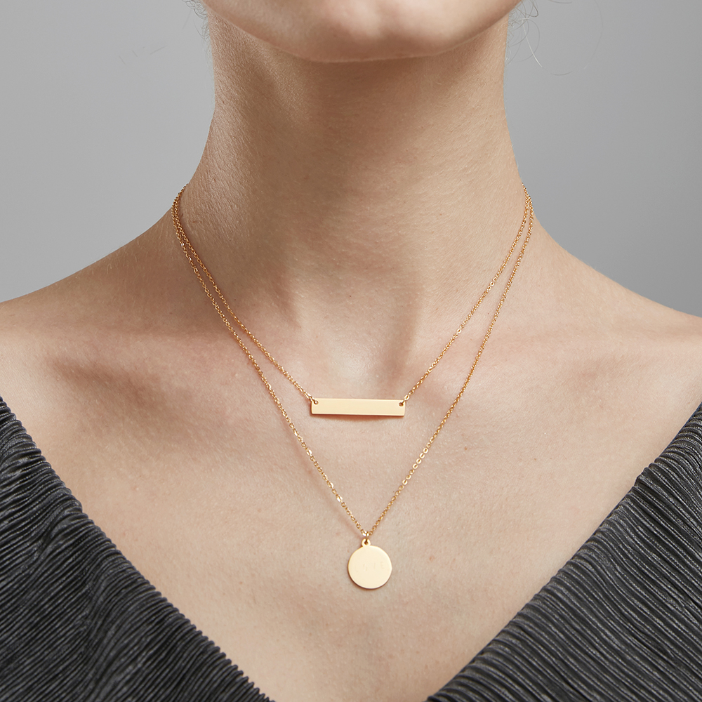 Enfashion Personalized Engrave Custom Name Necklace Gold Color Circle Bar Necklaces Pendants Women Choker Necklace Jewelry stylish bar layered black choker necklace for women