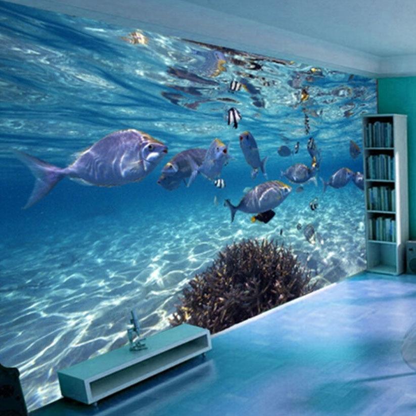 3D Wallpaper Cartoon Creative Submarine World Marine Life Mural Kids Bedroom Aquarium Living Room Backdrop Wall Paper Home Decor