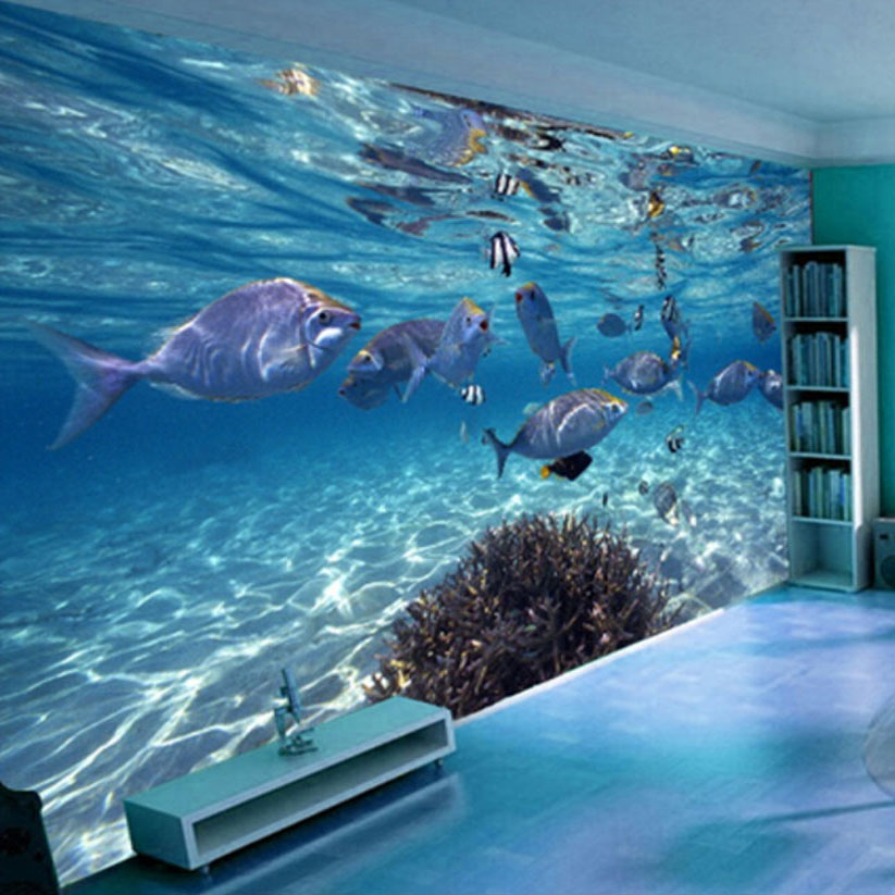 3D Wallpaper Cartoon Creative Submarine World Marine Life Mural Kids Bedroom Aquarium Living Room Backdrop Wall Paper Home Decor image