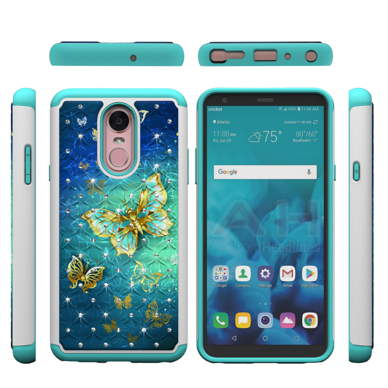 For LG Stylo 4 Case Bling Diamond Patterned Dual Layer PC Silicone Hybrid Phone Case for LG Stylo 4 Cover Q Stylus Accessories in Rhinestone Cases from Cellphones Telecommunications